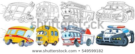 автомобилей книжка-раскраска дети скорой полиции вектора Сток-фото © sonia_ai