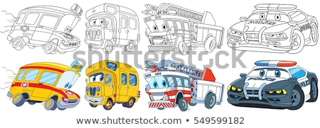 Araba Boyama Kitabi Cocuklar Ambulans Polis Vektor