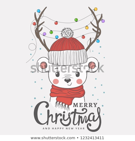 girl in santa hat with teddy bear on christmas Stock photo © dolgachov