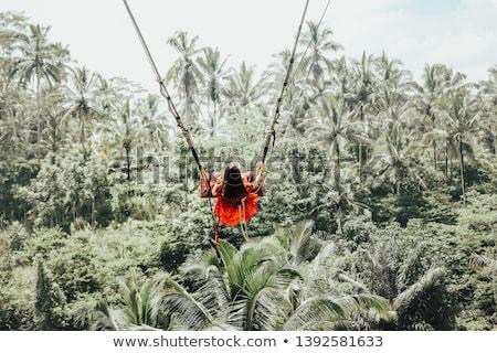 Młodych turystycznych kobieta huśtawka dżungli Rainforest Zdjęcia stock © galitskaya
