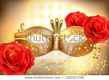 Golden mask with diomonds Vector realistic. Stylish Masquerade Party. Mardi Gras card invitation. Ni Stock photo © frimufilms