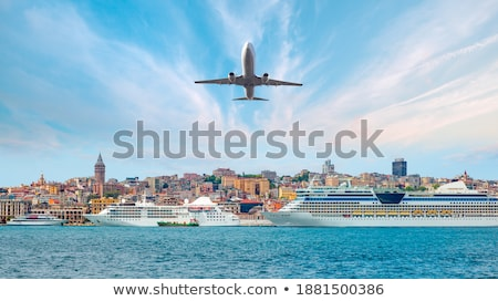 An Airplane Flying Over the Sea on Full Moon Stock photo © colematt