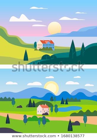 conjunto · paisagem · ilustração · árvore · primavera · floresta - foto stock © colematt