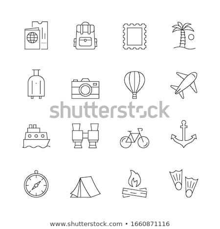 Jacht wektora line ikona odizolowany biały Zdjęcia stock © smoki