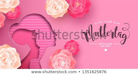 German Mothers Day card of papercut mom and kid Stock photo © cienpies