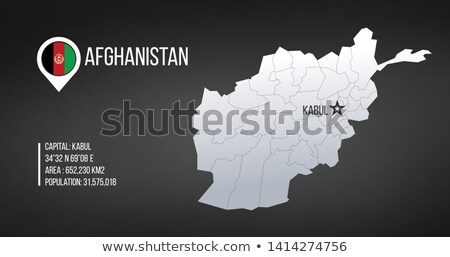 Afghanistan detailed map with regions and Kabul capital star and statistic information. Vector illus Stock photo © kyryloff