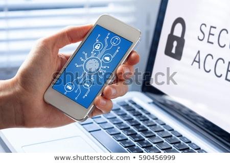 Notebook okostelefon mikrocsip felső kilátás billentyűzet Stock fotó © limbi007