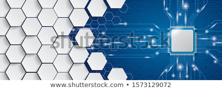 Blue Hexagon Structure Microchip Header Stock photo © limbi007