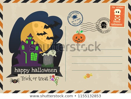 Halloween greeting cards - haunted house, ghosts background, poster, banner Stock photo © marish