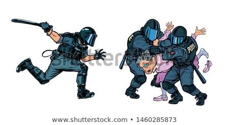 cartoon · policjant · uruchomiony · wzywając · na · zewnątrz · odizolowany - zdjęcia stock © studiostoks