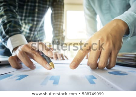 Stock photo: Close-up of hands, Two business colleague meeting to discussing