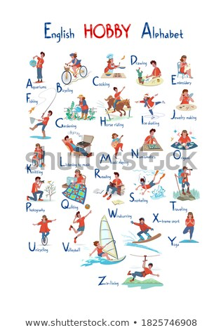 man and woman playing english sport active vector stock photo © robuart