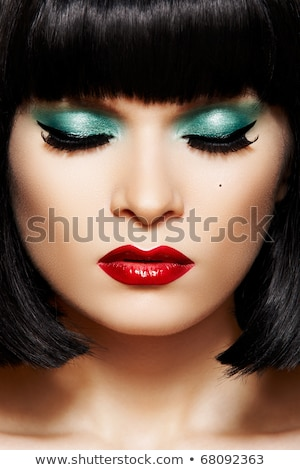 Close-up of woman's lips with bright fashion red glossy makeup. Macro bloody lipgloss make-up. Red s Stock photo © serdechny