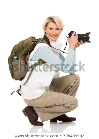 Aged female tourist isolated on white  Stock photo © Elnur