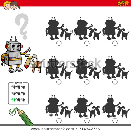 shadows game with robots characters stock photo © izakowski