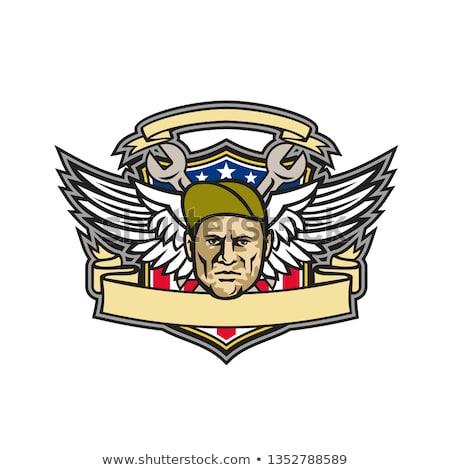アメリカン 乗組員 チーフ シールド マスコット アイコン ストックフォト © patrimonio