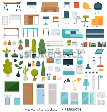 office furniture desktop and chair laptop vector stock photo © robuart