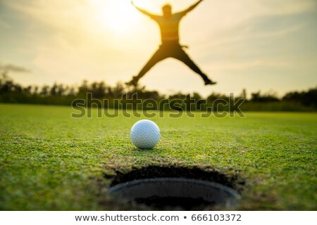 happy golf player jumping on golf course stock photo © lichtmeister