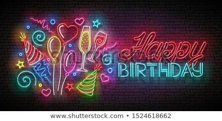 Stockfoto: Gloed · wenskaart · ballonnen · champagne · confetti · gelukkig