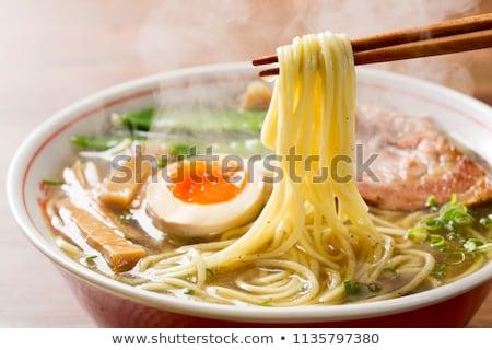 ázsiai tészta ramen leves tyúk zöldségek Stock fotó © karandaev