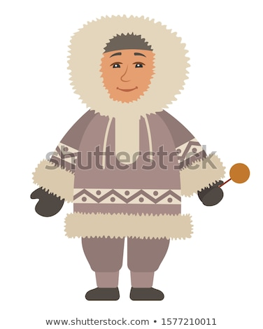 Eskimo Man Standing Alone, Isolated Arctic Person Stock photo © robuart