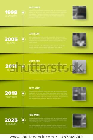 Zaman Çizelgesi şablon yeşil bloklar fotoğraf vektör Stok fotoğraf © orson