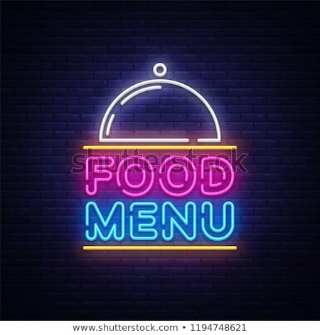 żywności menu neon etykiety Kafejka promocji Zdjęcia stock © Anna_leni