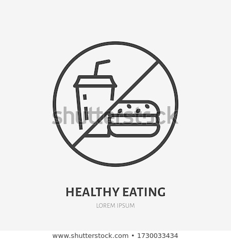 Ban On Junk Food Icon Vector Outline Illustration Stok fotoğraf © Nadiinko
