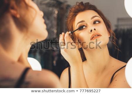 fiatal · szőke · nő · jelentkezik · arc · por · nők - stock fotó © rob_stark