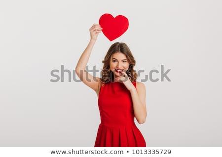 bela · mulher · coração · cabeça · vermelho · branco - foto stock © Rob_Stark