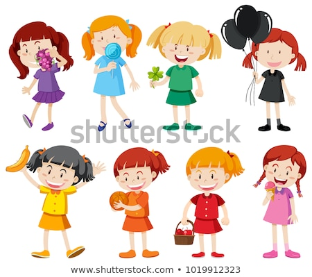 Young girl in yellow shirt. Colored Vector illustration Stock photo © leonido
