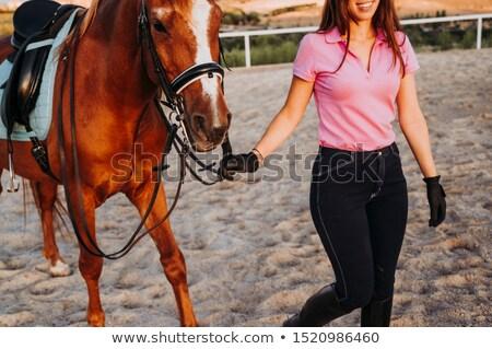 Paardrijden gewas meisje foto dominant dame Stockfoto © dolgachov