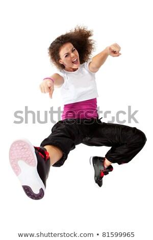 Сток-фото: Woman Dancer Jumping And Screaming