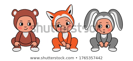 Frightened young girl in rabbit costume isolated on white Stock photo © pzaxe