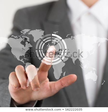 üzletasszony mutat ujjak virtuális háló interfész Stock fotó © HASLOO