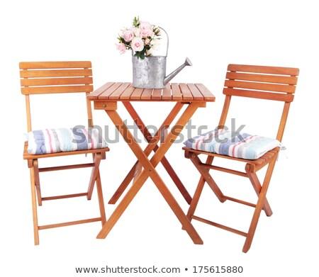 metal garden furniture at water Stock photo © compuinfoto