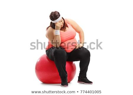 ストックフォト: 太り過ぎ · 女性 · 座って · ジム · ボール · 白
