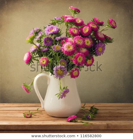pink asters flowers bouquet on old wooden background Stock photo © inxti