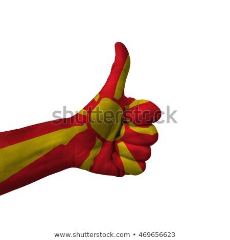 Macedonia bandiera pollice up gesto eccellenza Foto d'archivio © vepar5