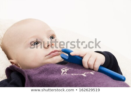 newborn baby with blue wooden toll Stock photo © gewoldi