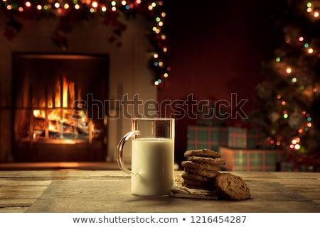 Christmas Fireplace Hearth with Cookies and Milk for Santa Stock photo © saje