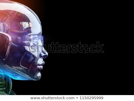 Widok z boku myślenia android odizolowany biały komputera Zdjęcia stock © Kirill_M