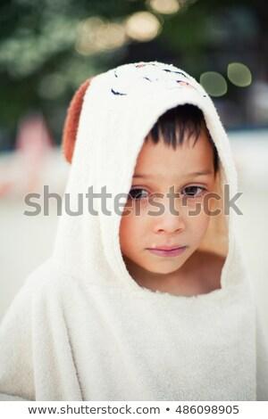 肖像 疲れ果てた 少年 スイミング ビーチ 空 ストックフォト © meinzahn