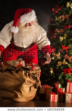 santa claus opening his sack and taking gifts under christmas tr stock photo © hasloo