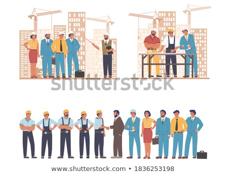 woman architect at work site with blueprints set stock photo © pxhidalgo