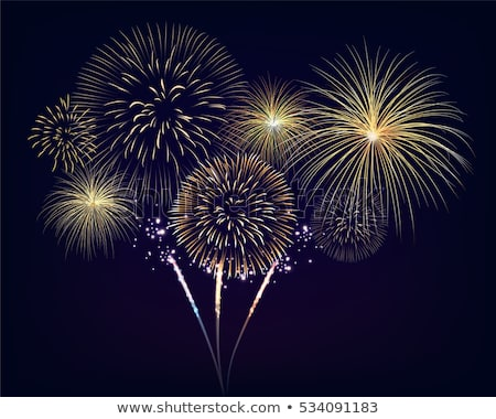 Fire works on black sky Stock photo © Juhku