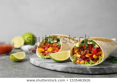 Tortilla csomagolás étel tyúk szendvics zöldség Stock fotó © M-studio