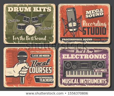 retro · microfoon · ontwerp · technologie · rock · communicatie - stockfoto © derocz