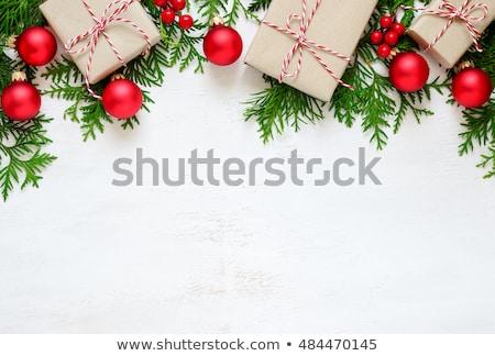 Natale · cuori · legno · confine · isolato · bianco - foto d'archivio © neirfy