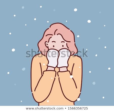 Cartoon verlegen vrouw hand ontwerp gek Stockfoto © lineartestpilot